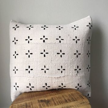 Black and White Small Tribal Cross African Mudcloth Pillow Cover - Custom Made