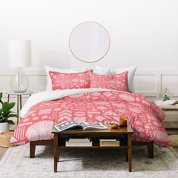 Nick Nelson Modern Elements In Bubble Gum Duvet Cover