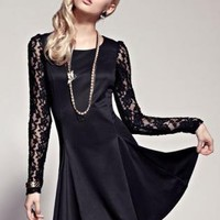 Elegant lace sleeve dress 118H