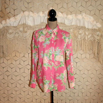 Pink Floral Blouse Pink Shirt Spring Top Casual Cotton Blouse Long Sleeve Blouse Pink Button Up Blouse Jones New York Large Womens Clothing