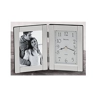 Bulova Forte II - Picture Frame Clock - Brushed Aluminum Case