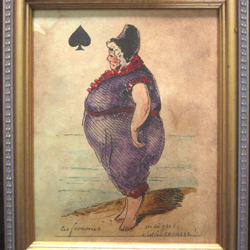 Vintage Style Playing Card Ace of Spades Art Print- Large Woman at the Beach on Tea Stained Paper