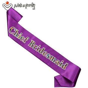 Purple chief bridesmaid sash 50% off for 3pcs team bride to be favor hen bachelorette event party supplies wedding favors & gift