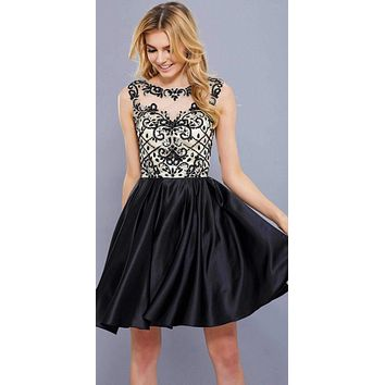 Black Appliqued Homecoming Short Dress Sleeveless