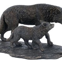 Wolf and Cub Statue Bronze Finish Statue