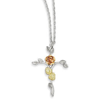 Sterling Silver & 12K Rose Cross Necklace QBH162