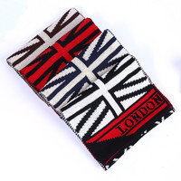 Letter and Flag Pattern Knit Scarf