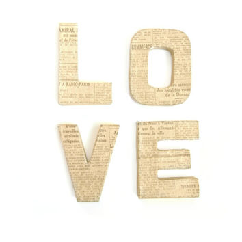 Kraft Brown & Vintage Newspaper Paper Mache Love Letters - Custom Ornament Letters, Wedding decor, Freestanding Letters, Paper Mache Letters