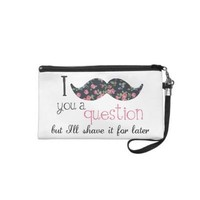 Floral Vintage I Mustache You a Question Wristlet from Zazzle.com