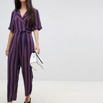 ASOS DESIGN Petite wrap jumpsuit with self buckle in stripe | ASOS