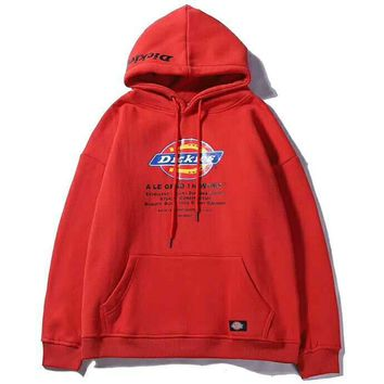Dickies autumn and winter new couple printing embroidery round neck hooded plus velvet loose sweater Red