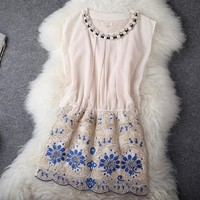 European ya dress embroidery necklace