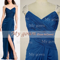 Floor Length With Draped Beads Crystal Blue Prom Gown, Dresses, Wedding Dresses ,Cocktail Dress