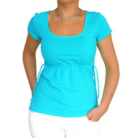 Turquoise blue short sleeve shirt maternity top blouse Fuzzy inside Lycra shirt women top