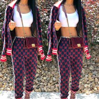 GUCCI Classic Popular Women Casual Print Sweater Coat Pants Trousers Set Two-Piece Sportswear