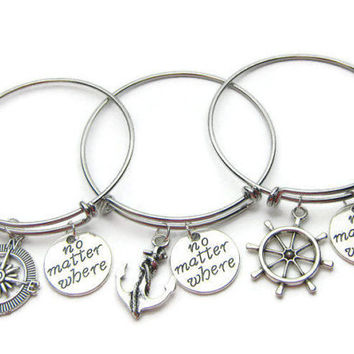3 Best Friends Bracelets, Best Friends Bangles, No Matter Where, Anchor Compass Rudder, Friends Bracelets, Sisters Bracelets, BFF