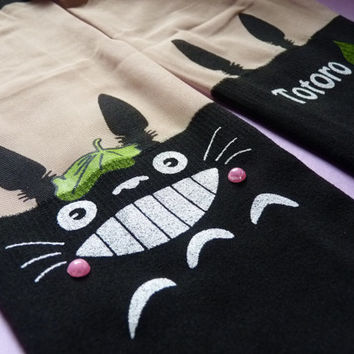SALE Amazing Totoro Green Leaf Knee High Hosiery Pantyhose Tattoo Socks Leggings Tights Stockings Women Kawaii