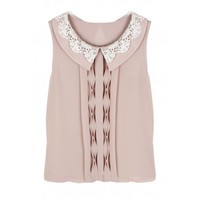 Peter Pan Collar Pintuck Crochet Chiffon Top (Pink)