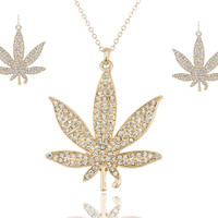 Goldtone Marijuana Pendant with an 18 Inch Link Necklace and Earrings Jewelry Set
