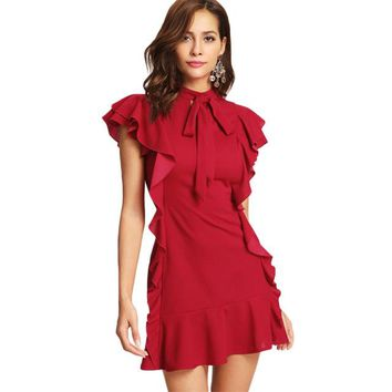 Flounce Embellished Ruffle Dress