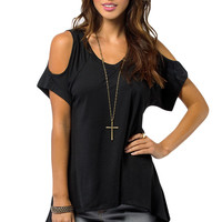S-XXL   Black Off The Shoulder Tops For Casual T Shirt Plus Size Hollow Out Large Size Loose SM6