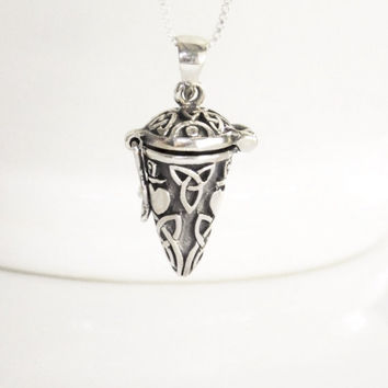 Stash Necklace Sterling Silver Stash Box Locket Pendant Celtic Locket Necklace, Celtic Stash Necklace Triquetra Necklace Claddagh