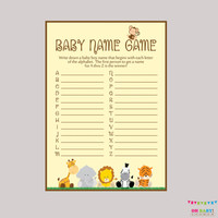 Safari Baby Shower Baby Name Game - Baby Name Race Game - Printable Download - A to Z Baby Game Safari Baby Shower Game - BS0001-N