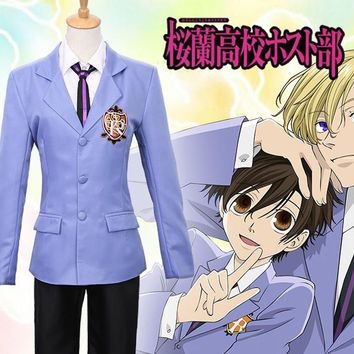 Hot Anime Ouran High School Host Club Fujioka Haruhi La Parure Jacket Coat School Uniform Outfit Cosplay Costumes