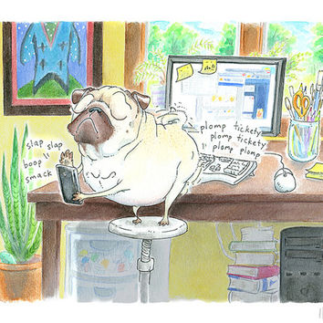 Pug Art Print - 8x10, 8.5x11 - Social Media Pug Painting, Pug Home Office Decor, Office Decor, Office Art, Home Office Art by Inkpug!