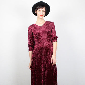 Vintage Crushed Velvet Dress 90s Dress 1990s Dress Burgundy Oxblood Soft Grunge Dress Midi Dress Maxi Dress Lace Up Back M Medium L Large XL