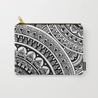 Black & White Boho Carry-All Pouch by Sarah Oelerich