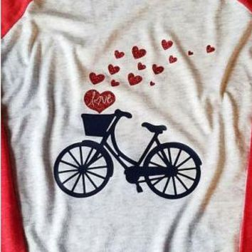 Love Bicycle Hearts - Valentine's Day - Women's T-shirt