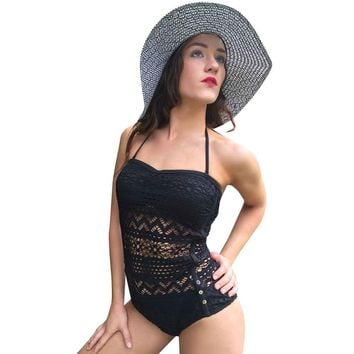 Alluring Halter See-Through Solid Colour Women's Swimwear