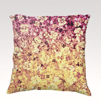 FLOWER POWER Fine Art Velveteen Throw Pillow Cover 18 x 18 Abstract Pretty Plum Purple Yellow Ombre Flowers Modern Dorm Home Decor Painting