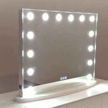 SALE!! XL Hollywood Impulse LED Lighted Vanity Mirror w/ Touch Dimmer & 2 Side Outlets