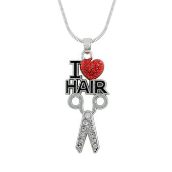 my shape Silver Plated I Love Hair Scissor Necklace Stylist Beautician Red Heart Crystal Pendant Charm