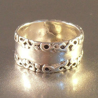 Sterling Cigar Band Ring, Victorian Revival, Wedding Bridal Jewelry, Ornate Edges