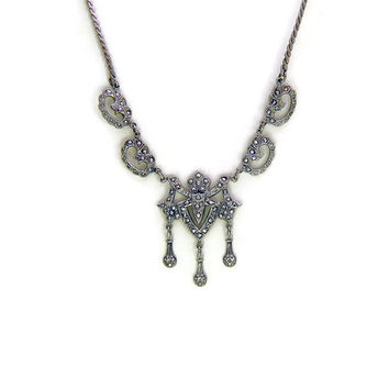 SALE 1920s Art Deco Necklace or Edwardian Necklace of Antique Sterling SIlver and Marcasite