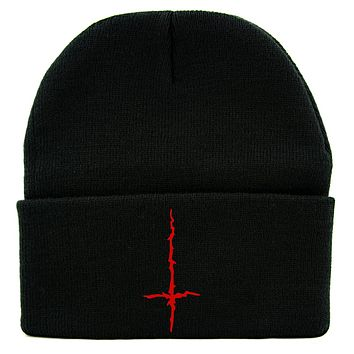 Red Inverted Cross Cuff Beanie Knit Cap Black Metal Occult