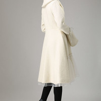 Begin white wool winter warm jacket long sleeve outwear (725)