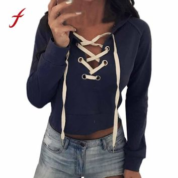 Feitong Autumn Women Short Hoodie Sweatshirts Causal Lace Up Bandage Hoodies Hooded Crop Tops Pullover Sweatshirt sudadera mujer