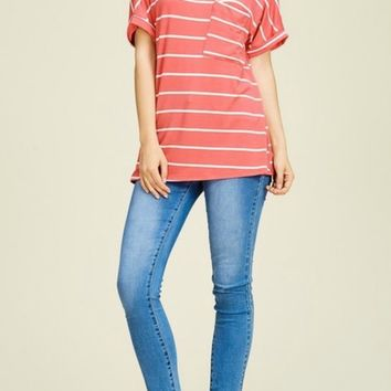 Caroline Coral Striped Pocket Tee