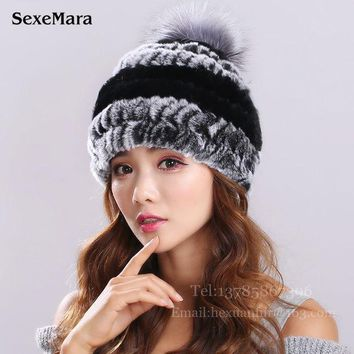 ICIKJG2 New Lovely Real Mink Fur Hat For Women Winter Knitted Mink Fur Beanies Cap With Fox Fur Pom Poms Brand New Thick Female Cap 003