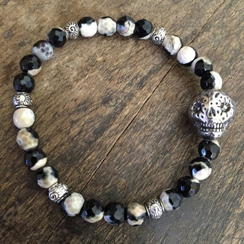 Sugar Skull Bracelet, Gemstone Bracelet, Stacking Bracelet, Bohemian Beaded Jewelry by Two Silver Sisters
