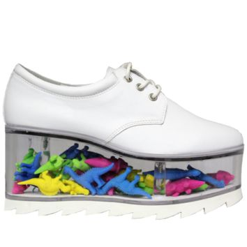 Qloud 2091 Platforms in White Leather