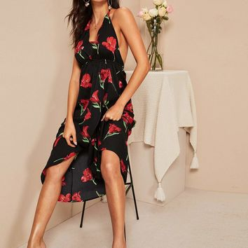 Wrap Split Hem Floral Knot Backless Halter Dress