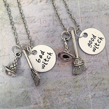 Good Witch Bad Witch Best Friends Necklaces - Witches Jewelry - Best Friends Jewelry - Sister Jewelry - Best Witches Jewelry
