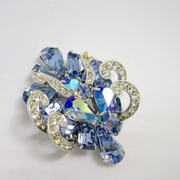 Weiss Blue Brooch Crystal AB Rhinestones Silver Finish 1950's Layered Teardrop Swirls Mid Century Blue Glass Rhinestone Brooch 1 3/4 inches