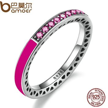 BAMOER 925 Sterling Silver Radiant Hearts Orchid Red Enamel & Cerise Crystals Finger Ring for Women Wedding Jewelry PA7618
