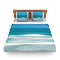 "Ann Barnes ""Sun and Sea"" Blue Aqua Queen Fleece Duvet - Outlet"